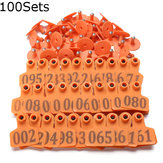 100Sets Orange Green Animals Cattle Goat Pig Sheep Use Ear Number Tag Livestock Tags Labels