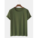 Mens Solid Color Cotton Round Neck Short Sleeve Casual Basic T-Shirts