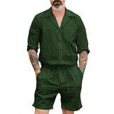 Men Solid Color Drawstring Short Jumpsuit Pants