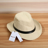 Bang good Men Women Summer Outdoor Sunshade Straw Hat Solid Color Beach Jazz Hat