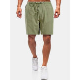 Herren Casual Flax Breathable Fit Bequeme einfarbige Shorts