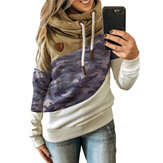 Women Camo Print Patchwork Cotton Long Sleeve Casual Drawstring Hoodies