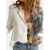 Women Figure Print Patchwork Lapel Long Sleeve Casual Shirts