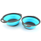 IPRee® 2Pcs/Set Silicone Folding Drain Baskets Retractable Colander Camping Picnic Storage Gadgets