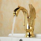 ヨーロッパSwanアンティーク浴室流域蛇口ホット&コールドウォーターミキサータップシングルハンドル銅デッキマウント