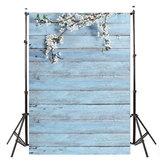 3x5FT Beyaz Çiçek Mavi Ahşap Duvar Fotoğraf Backdrop Stüdyo Prop Arka Plan