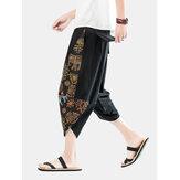 メンズエスニックスタイルのプリントカジュアルルーズライト巾着ウエストハーレムパンツ