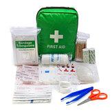 Kit de Primeiros Socorros verde Com Bolsa SOS para Acampamento Ao Ar Livre Viajar Tesoura Bandagem Luvas Descartáveis