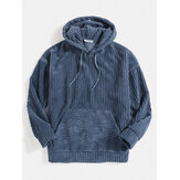 Mens Corduroy Warna Solid Kangaroo Pocket Drop Shoulder Hoodies