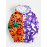 Heren Halloween Patchwork Allover Pompoen Print Pouch Pocket Hoodies