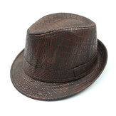 Mens PU Leather Crocodile Pattern Jazz Hat Outdoor Middle-aged Wide Brimmed Fedora Hats