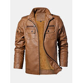 Mens Washed Vintage Multi-Pocket Zipper Lapel Winter Thicken PU Leather Jacket