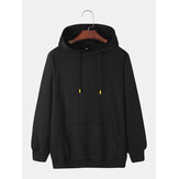 Mens Black Long Sleeve Cotton Drawstring Hoodies With Kangaroo Pocket