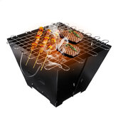Outdoor BBQ Grill Folding Charcoal Furnace Camping Picnic Oven Stainless Steel Cooking Stove