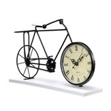 Retro Iron Wire Bicycle Bike Clock Roman Numeral Stand Desk Table Home with Base