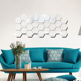 12Pcs 3D Wall Stickers DIY Mirror Hexagon Vinyl Removable Decal for Home Living Room Art Decoration