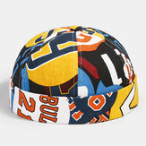Banggood Design Men Contrast Color Graffiti Pattern Brimless Beanie Landlord Cap Skull Cap
