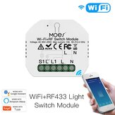 MoesHouse Mini DIY WiFi RF433 Smart Relay Switch Module Smart Life / Tuya App Control для Alexa Google Home 1 Gang 1/2 Way