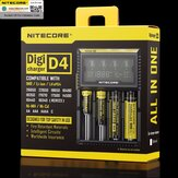 NITECORE D4 LCD Display QC Quick Charge Smart Battery Charger Universal For Lithium Ni-Mh Battery 18650 26650 21700 RCR123A AA AAA