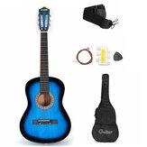 38 İnç 6 Strings Acemi Akustik Gitar Starter Kit w / Durumda, Kayış, Tuner, Pick, Dizeleri