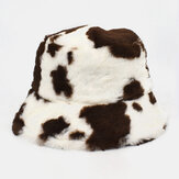 Cheveux d'agneau unisexe Soft Chapeau de seau à motif de vache mignon décontracté chaud tout-assorti