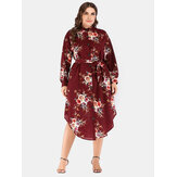 Plus Size Cotton Button Irregular Hem Holiday Floral Dress