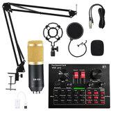 BM800 Live Sound Card V8 Microfone Condensador Gravação Mount Boom Stand Kit de microfone para transmissão ao vivo K Song