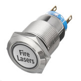 12V 19mm 5 Pin Silver laser per incendio Interruttore a pulsante in metallo luce a led Momentary