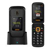 UNIWA V909T 4G Flip Phone 2,8 hüvelyk +1,77 hüvelyk, 2250 mAh fényképezőgép rezgés FM rádió SOS GPS Kettős SIM kártya Kettős készenléti telefon