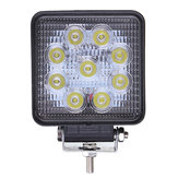 DC10-30V 27W 2500LM White 6000K 4X4 Square Flood LED Work Light forTruck ATV Boat Off Road Cars