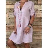 Женский повседневный регулируемый рукав с V-образным вырезом Свободный Платье