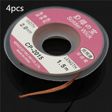 4pcs 1.5mx2mm Solder Wire Desoldering Braid Solder Remover Copper Wick Spool Wire Cable