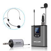 NASUM UHF Wireless Headset Microphone/Lavalier Lapel Mic with Bodypack Transmitter and Mini Rechargeable Receiver 1/4'' Output