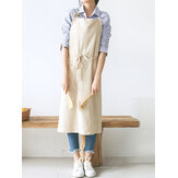 Japanese Style Brief Pure Color Cotton Linen Aprons