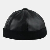 Men PU Leather Hip-hop Style Street Trend Fashion Solid Color WInter Keep Warm Landlord Skull Hat