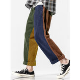 Mens Patchwork Solid Color Corduroy Pocket Casual Pants