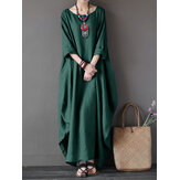 L-5XL Casual Women Loose Solid Color Baggy 3/4 Sleeve Maxi Dress