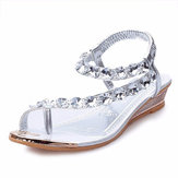 Women Summer Wedge Sandals Fashion Low Heel Casual Rhinestone Slip On Sandals Shoes
