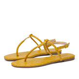 LOSTISY Women Solid Color T-Strap Clip Toe Side Buckle Casual Sandals