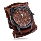 Deffrun Vintage Cow Leather Men Wrist Watch Decorative Three-Hand Quartz Watch
