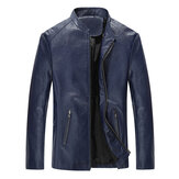 Mens Stand Collar Czarny Biker Jacket Spring Autumn Faux Leat
