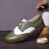 LOSTISY Color Block Lace Up Mulheres casuais Brogue Flats Shoes