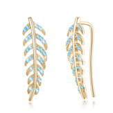 Trendy 925 Silver Inlay Zircon Crystal Elegant Leaf  Earring