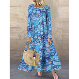 Women Floral Print Long Sleeve Ethnic Style Maxi Dresses