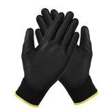 12 paires Nylon protecteurs enduits de paume d'unité centrale fonctionnent des gants de moto antistatiques remplacer S / M / L