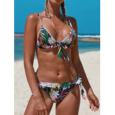 Vrouwen Multicolor Pritnt Triangle Bow-Knot Top String Hot Swimwear Bikini