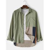 Design Mens Patchwork Pocket Lapel Stitching Hem Long Sleeve 100%Cotton Shirts