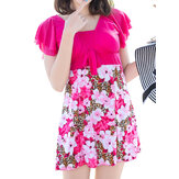 Comfortable Floral Printing Ruffle Short Sleeves One Piece Swimdress With Boyshort