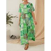 Vintage Ethnic Style Printed Short Sleeve Maxi Dress With Pocket