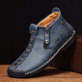 Boné de couro masculino com costura à mão antiderrapante e anti-colisão botins casuais